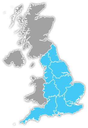 map of regions of england